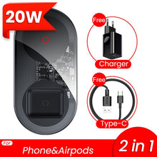 Load image into Gallery viewer, 2 in 1 Dual Qi Wireless Charger For iPhone 11 Pro Max X Airpods 15W Fast Wireless Charging Pad Induction Wirless Charger