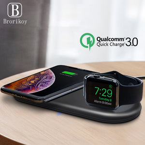 Wireless Charger Pad 2W Magnetic Watch Charging for Apple iWatch 5 4 3 2 1 QC3.0 Quick Charge for iPhone 11 Pro Xs Max X 8