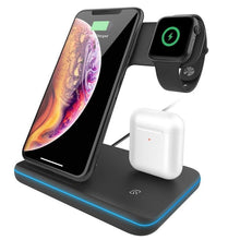 Load image into Gallery viewer, 15W Fast Wireless Charger Stand For iPhone 11 XS XR X 8 Samsung S10 S9 10W 3 in 1 Charging Dock for Apple Watch 5 4 3 Airpods
