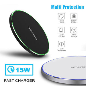 15W Wireless Charger for iPhone X Xs MAX XR 8 plus Fast Charging for Samsung S8 S9 Plus Note 9 8 USB Phone Charger Pad