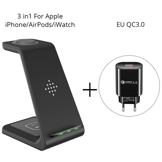 3 in 1 Wireless Charging Station For iPhone11Pro/Xr/Xs/AirPods Pro/iWatch5  Wireless Charger For SamsungS10/Buds/Watch