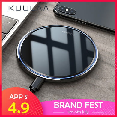 Qi Wireless Charger For iPhone X/XS Max XR 8 Plus Mirror Wireless Charging Pad For Samsung S9 S10+ Note 9 8