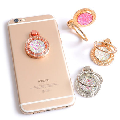 Luxury 360 Degree Finger Ring Diamond Floral Smartphone Holder