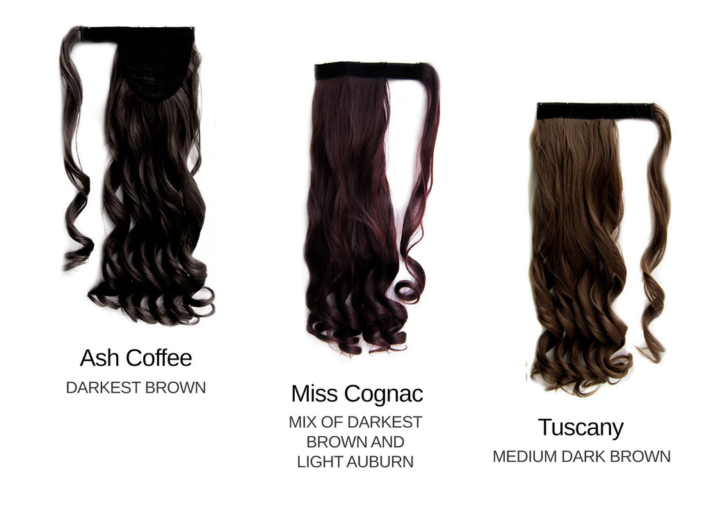 Wrap around wavy Dark brown Set