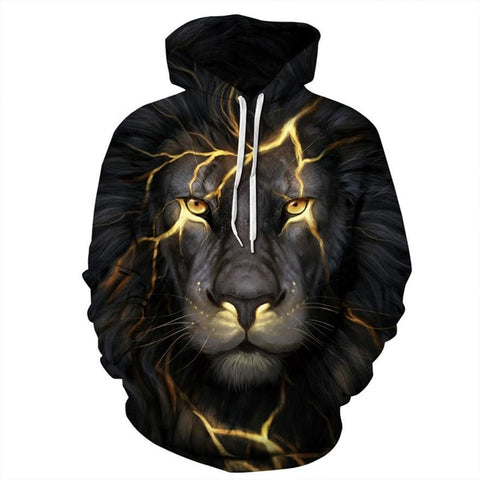 3D Electric Lion Print Hooded Sweatshirt - Treat Yourself Emporium