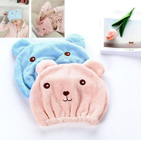 Happy Bear Quick-Dry Hair Turban - Treat Yourself Emporium