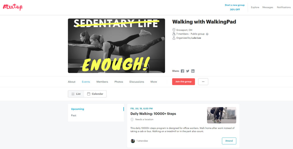 walking with walkingpad on meetup