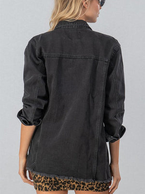 Distressed Denim Longline Jacket - Black