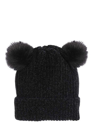Double Pom Pom Beanie -  Black