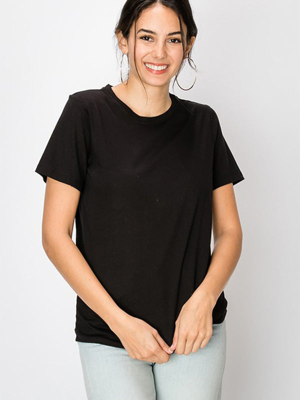 Cece Basic Crewneck Tee - Black