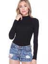 Ava Ribbed Turtleneck Bodysuit - Black