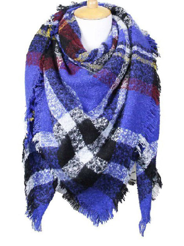 Plaid Blanket Scarf - Royal Blue