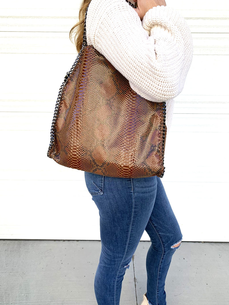 Carina Chain Tote - Brown