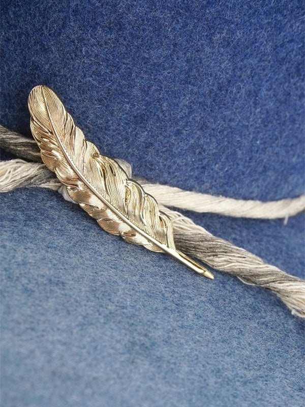 Feather Hat Pin - Gold