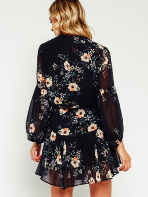 Flirty & Floral Drawstring Dress