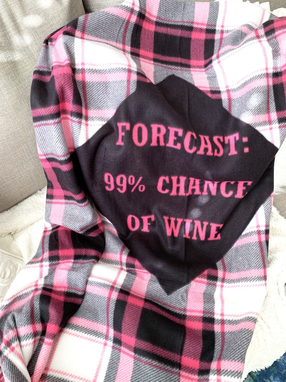 Forecast '99% Chance of Wine' Plaid Blanket