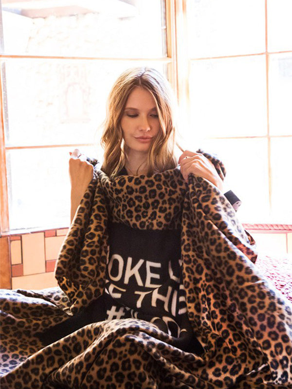 'I Woke Up Like This #Tired' Leopard Blanket