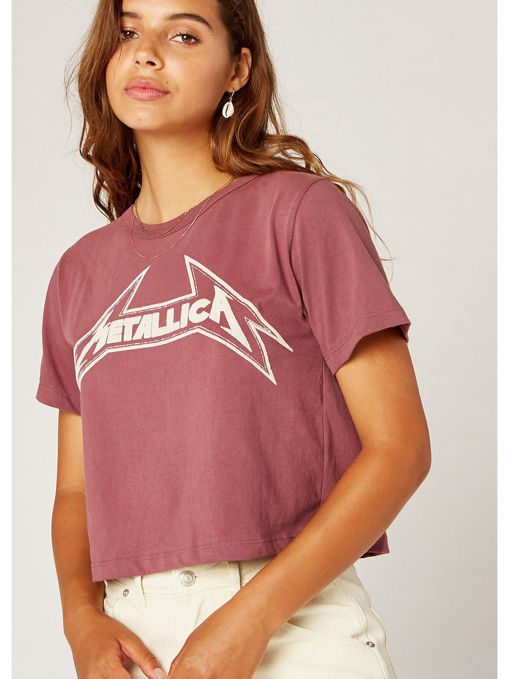 Metallica Young Metal Rebel Crop Tee - Mauve
