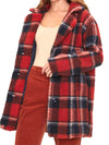 Let's Get Cozy Plaid Sherpa Coat