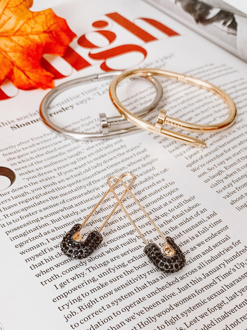 Safety Pin Earrings - Black