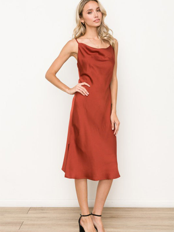 Savvy Satin Slip Dress - Rust