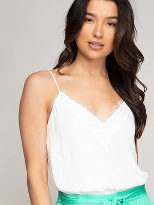 Time for Love Lace Cami - White