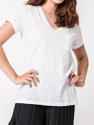 Lexie Basic V-Neck Tee - White