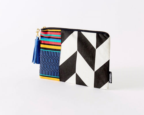Black and White Clutch, Chevron and African Print Bag, Small Cosmetic Bag,