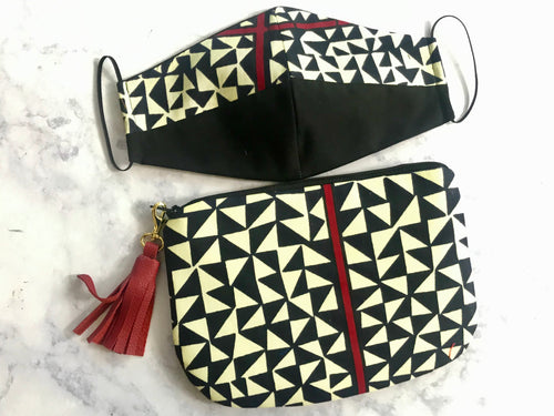Geometric Print Pouch Bag and Non Medical Face Mask