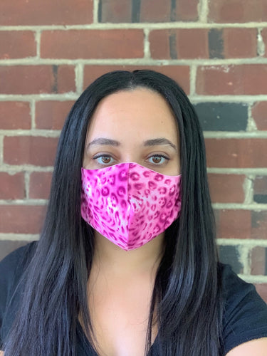 Pink Leopard Face Mask