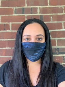 Navy Blue Geometric Face Mask