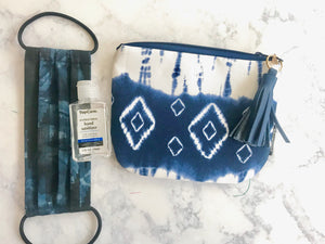 Blue and White Tie-Dye Clutch