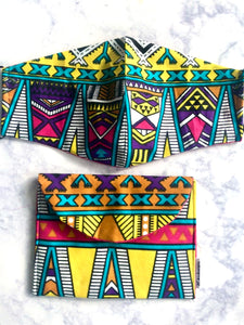 Abstract Multi Colored Print Pouch Bag and Non-Medical Face Mask Set