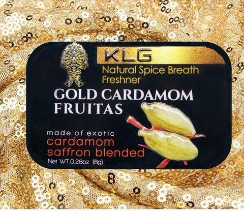 #GOLDMINTS 1 Metal Tin of Gold Cardamom Fruitas (8g)