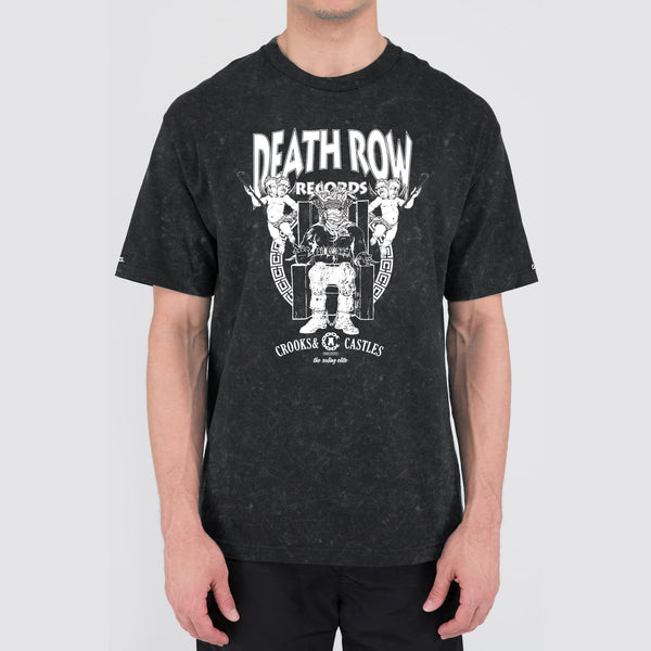Death Row x Crooks Logo Acid Wash Tee