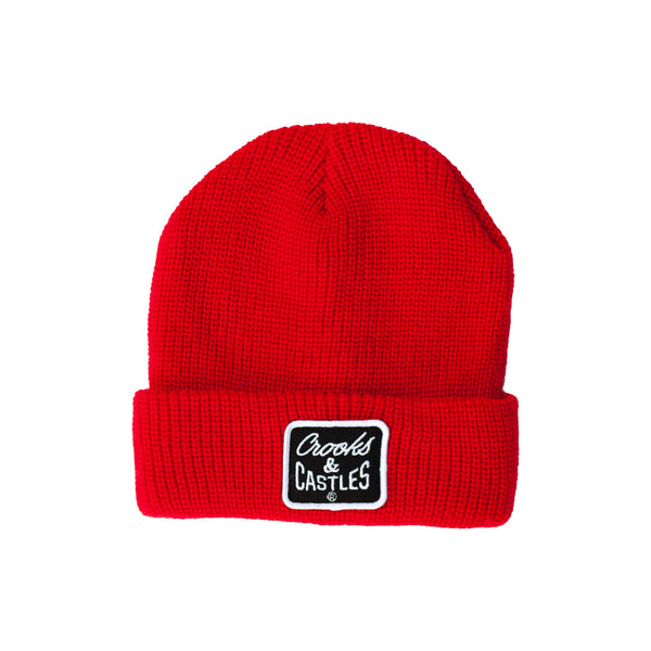 Reverse Core Patch Beanie (Red)