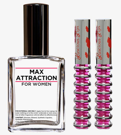 Order The Max Attraction Seduction Kit to Attract Men for 20% OFF the normal price. This includes one bottle of Max Attraction to Attract Men and 2 Luscious Lips, the best–selling lip plumper…guaranteed to give you attention grabbing sexy lips.