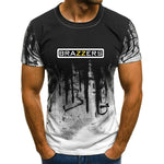 2019 new camouflage Brazzers printed men's fashion T-shirt short-sleeved O-neck Harajuku summer casual men's T-shirt.