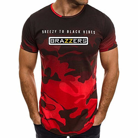 The new 2018 red camouflage BRAZZERS has created a full-length printed casual fashion short-sleeved T-shirt.