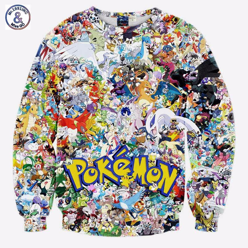 Mr.1991INC New Arrivals Men/boy 3d sweatshirt print Japanese Anime characters small animals long sleeve hoodies-noashe