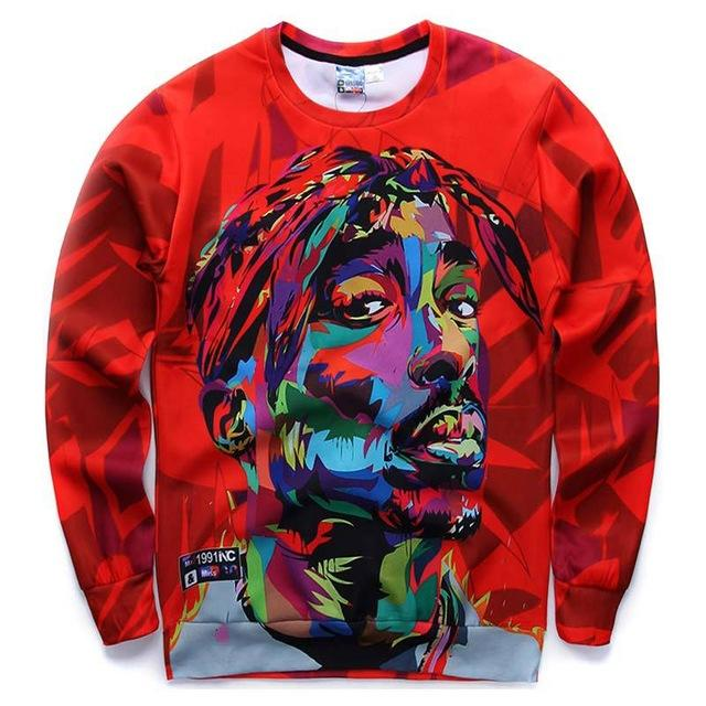 Mr.1991INC Hip hop 3d sweatshirt for men autumn pullovers print rapper Tupac 2pac hoodies long sleeve tops red color-noashe