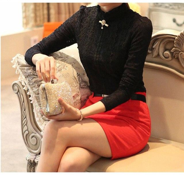 Lace Shirt Women Clothing Blusas Femininas Blouses & Shirts 2015 New Fashion women tops Thick Fleece Women Crochet Blouse 018A-noashe