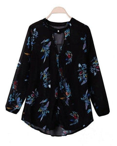 Plus Size Blusas Women Floral Printing Blouse Spring Autumn Style Ladies Long Sleeve V neck Loose Shirts Sexy Top S-3XL-noashe