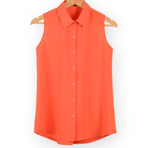New fashion work wear office tops blouses Summer turn down sleeveless women chiffon shirt slim shirts colors female camisa vest-noashe