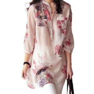 3XL Plus Size 2016 New Women Blusas Shirts Spring Casual Linen Floral Print Three Quarter Sleeve Button Blouses Shirts Tops-noashe