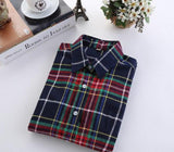 2017 Brand New Fashion Plaid Shirt Female Casual Style Women Blouses Long Sleeve Flannel Shirt Plus Size Cotton Blusas Tops 5XL-noashe