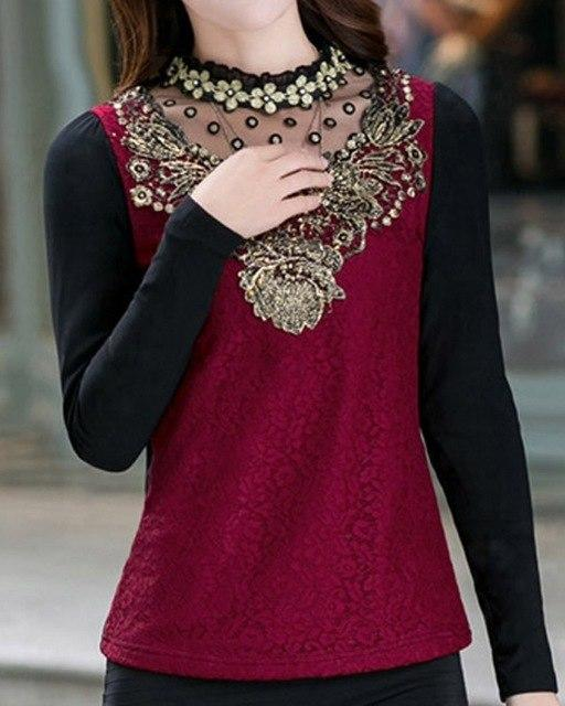 New 2015 Fashion Turtleneck Floral Cotton Long Sleeve Chiffon Shirt Lace Blouse Income Women's Blouses Plus Size Clothing 13B 25-noashe
