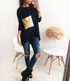 3 Colors Tops Autumn Young Girls' Asymmetric Tunic Shirt O Neck Long Bottoming Shirts With Sequined Tops Autumn Clothings LX101-noashe