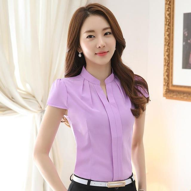 2016 newest arrival women blouse solid color lace OL shirt collar shirt ladies tops slim fashion summer clothes 861B 25-noashe