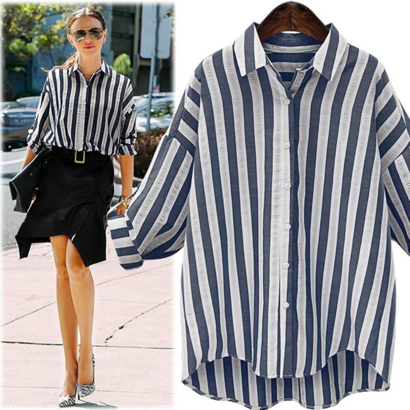 Fashion Blue White Striped Women Blouses 2017 Summer Long Sleeve Shirt Women Casual Tops Plus Size Linen Blouse Camisas Mujer-noashe
